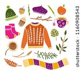 autumn hygge elements... | Shutterstock .eps vector #1160908543