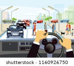 driving in the city ... | Shutterstock . vector #1160926750