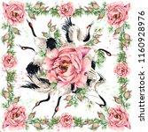 floral shawl textile design....   Shutterstock . vector #1160928976