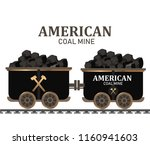miner cart coal wagon with pile ...   Shutterstock .eps vector #1160941603