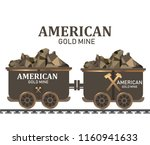 gold mining trolley mining cart ... | Shutterstock .eps vector #1160941633