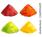 multicolored spices on isolated ... | Shutterstock . vector #1160941639