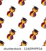 seamless pattern. owl with a... | Shutterstock .eps vector #1160949916