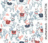 sweet llamas cacrus seamless... | Shutterstock .eps vector #1160952736
