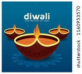 diwali celebration with flower... | Shutterstock .eps vector #1160953570