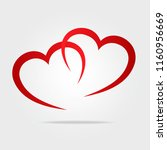 two red hearts symbol love as... | Shutterstock . vector #1160956669