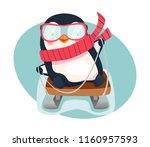 penguin on sled. penguin... | Shutterstock . vector #1160957593