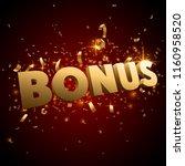 gold bonus sign with confetti | Shutterstock .eps vector #1160958520