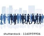 group of people in the city ... | Shutterstock . vector #1160959906