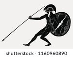ancient greek warrior with a... | Shutterstock .eps vector #1160960890