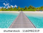 beautiful beach with water... | Shutterstock . vector #1160982319