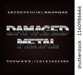 damaged metal alphabet font.... | Shutterstock .eps vector #1160986666