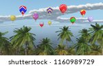 palm trees and hot air balloons ... | Shutterstock . vector #1160989729