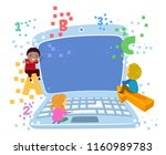 illustration of stickman kids... | Shutterstock .eps vector #1160989783