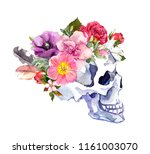 human skull in profile view... | Shutterstock . vector #1161003070
