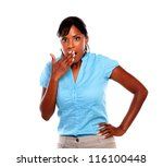 surprised young woman looking... | Shutterstock . vector #116100448