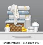 vector illustration of towels... | Shutterstock .eps vector #1161005149