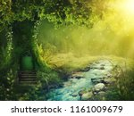 deep magic forest with sunshine | Shutterstock . vector #1161009679
