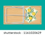 wooden mouse trap with dollar... | Shutterstock .eps vector #1161020629