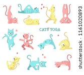 cats yoga icon set. cute color... | Shutterstock .eps vector #1161020893