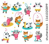 fitness raccoon panda fox icon... | Shutterstock .eps vector #1161020899