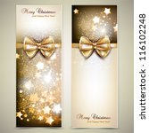 greeting cards with golden bows ... | Shutterstock .eps vector #116102248