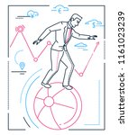 businessman with balancing on a ... | Shutterstock .eps vector #1161023239