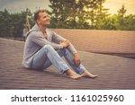 barefoot attractive young boy...   Shutterstock . vector #1161025960