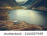 rv camper scenic road trip. raw ...   Shutterstock . vector #1161027439
