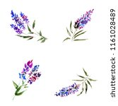 watercolor blue flowers. floral ...   Shutterstock . vector #1161028489