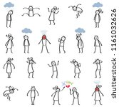 set of stick figures  furious... | Shutterstock .eps vector #1161032626