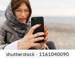 nice dark haired girl with... | Shutterstock . vector #1161040090