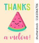 cute watermelon cartoon... | Shutterstock .eps vector #1161066706