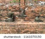ancient buddha without head at... | Shutterstock . vector #1161070150