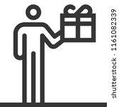 gift box  bold line stick... | Shutterstock .eps vector #1161082339