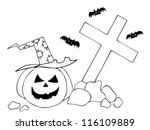 halloween pumpkin on cemetery.... | Shutterstock .eps vector #116109889
