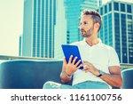 modern reading. young european...   Shutterstock . vector #1161100756