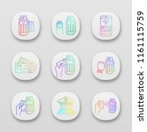 nfc payment app icons set. pos...