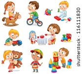 children play with toys. little ... | Shutterstock .eps vector #116111830