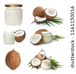 set with coconut oil on white... | Shutterstock . vector #1161150016