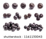 set with acai berries on white... | Shutterstock . vector #1161150043