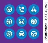 9 steering icons in vector set. ... | Shutterstock .eps vector #1161160459