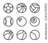 set sports balls icon trendy... | Shutterstock .eps vector #1161170593