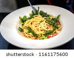 spaghetti spicy with bacon and... | Shutterstock . vector #1161175600