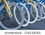 Row Of Bicycle Tires On Bicycle ...