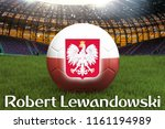 robert lewandowski on poland... | Shutterstock . vector #1161194989