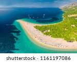 famous zlatni rat beach in bol  ... | Shutterstock . vector #1161197086