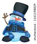 vector   happy snowman cartoon  ...   Shutterstock .eps vector #1161198829