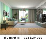 interior of the living room. 3d ... | Shutterstock . vector #1161204913