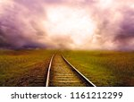 natural view endless railway... | Shutterstock . vector #1161212299